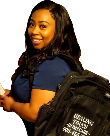 a woman with a backpack smiling